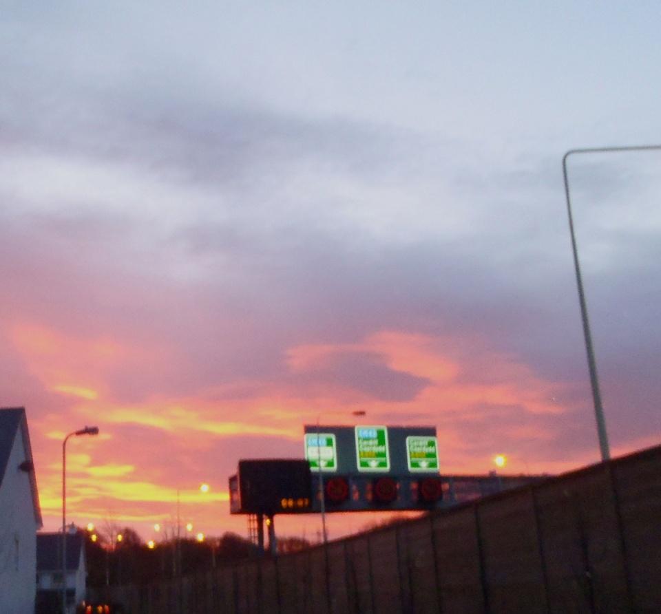 Sun rises over Cardiff