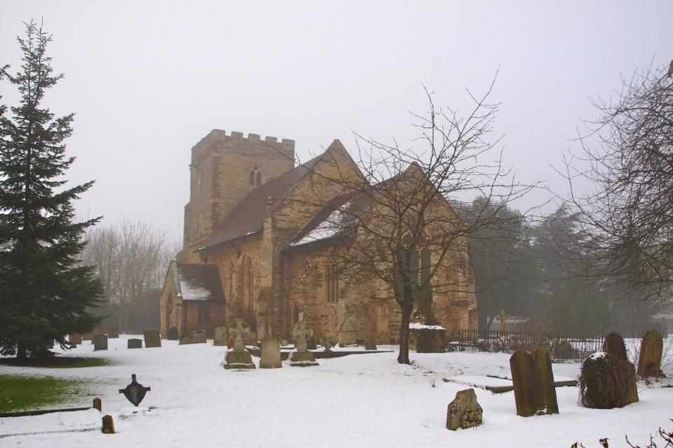 Snowy, foggy church